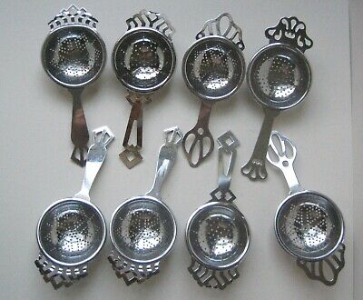 Mixed Lot of 8 Vintage Chrome Plated Tea Strainers c1930's-1950's Good Condition