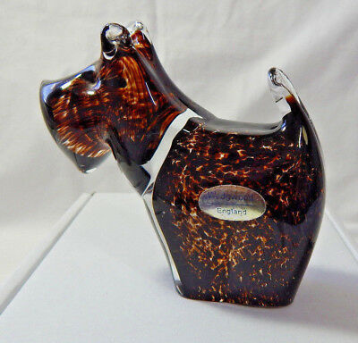 Wedgwood Glass Scottie Westie Dog Mottled Brown Etched Paperweight Vintage