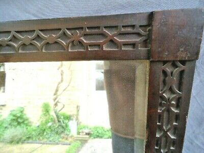 19Th Century Mahogany Blind  Fret Carved Mirror Frame, Bevelled Mirror