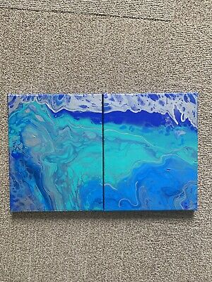 """""""split Lagoon """" Set Of Two 8x10 Inches Streched Canvas Signed By Artist"""