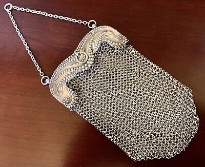 AESTHETIC TIFFANY & CO ~ STERLING SILVER Chatelaine MESH PURSE Antique VICTORIAN