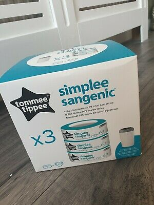 Tommee Tippee Simplee Sangenic Baby Nappy Diaper bin cassette refill x3