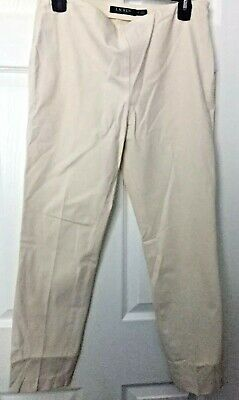 Lauren Ralph Lauren Womens  Beige Cotton Stretch Straight Leg Pants.  Size 6