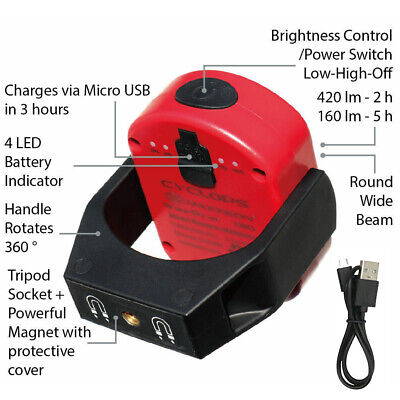 Maxxeon 00810 WorkStar Cyclops USB Rechargeable LED Magnetic Work Light New