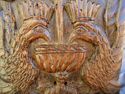 Rare 17Th Century Oak Carved Panel Of Birds Drinking From The Fountain Of Youth