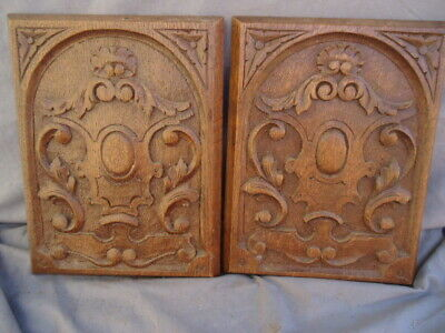 Two Small 19Th Century Oak Carved Panels