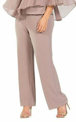 $199 R&M Richards Women'S Beige Pull-On Relaxed Trouser Wide-Leg Pants Size 16
