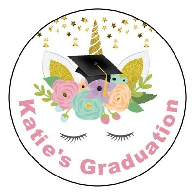 "UNICORN GLITTERY GRADUATION Personalized 2.5"" Round Labels Favors Stickers"