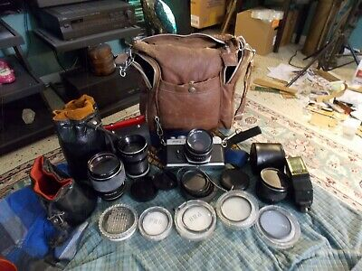 Vtg YASHICA FR-2 35-50mm Camera Lens + auto Bundle W/ Filters & Bag Parts Repair
