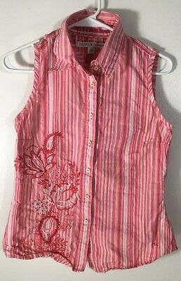 Women's Top Size M Sleeveless Blouse Pink White Floral Tommy Hilfiger Medium