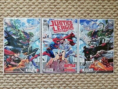 JUSTICE LEAGUE 20 1st RIGHT LEFT GEORGE JIMINEZ 3 PACK CONNECTING VARIANT SET NM