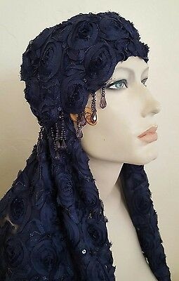 Blue Gatsby 20's Waterfall Bead Sequin Lace Flapper Bridal Headpiece/Veil Set