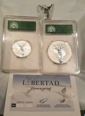 2018 Mexico REVERSE PROOF Silver Libertad 2 & 5 oz Set~COA~Graded PCGS PF70