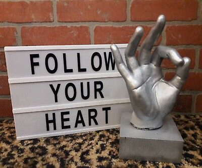 OK Sign Language Universal Emoji Statue Hand Sculpture Silver Gray Art Decor EUC