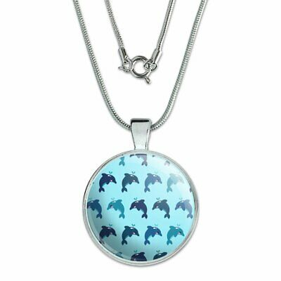 """Cute Kawaii Dolphins Pattern 1"""" Pendant with Sterling Silver Plated Chain"""