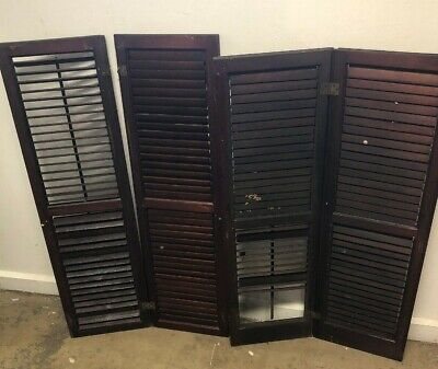 "Pair of Louvered Window Shutters Architectural Salvage 39x11""&38x11"" Weddings"