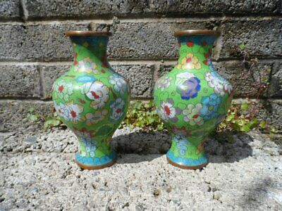 Antique Chinese cloisonne - pair of antique Chinese cloisonne vases