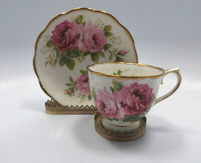 Royal Albert England American Beauty Pink Roses Tea Cup & Saucer