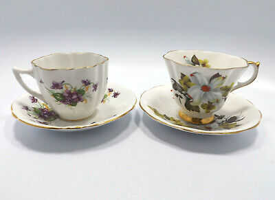 Lot of 2 England Floral Tea Cups & Saucers, Windsor & Queen Anne
