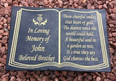 Memorial stone headstone gravestone grave marker Brother Dad plaque own words