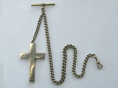 Antique-Victorian Large Solid Silver Curb Link Albert Watch Chain With Cross Fob