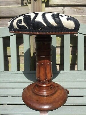 Antique Victorian Piano Stool carved wood wooden revolving swivel adjustable