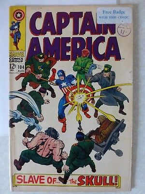 """Captain America Issue 104 """"First Print"""" - 1968"""