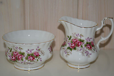 Royal Albert-Bone China-England-Lavander Rose-Zuckerdose/Schale+Milchkännchen-To