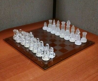 Elegant Brown Colored Glass Chess Checkers Set with Clear Frosted Game Pieces
