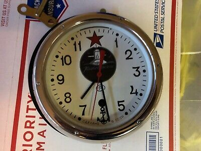 Vintage Russian Submarine Clock with Wall Mount & Key In Excellent Condition