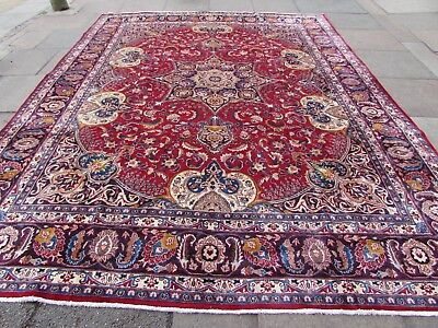 Old Hand Made Traditional Persian Rug Oriental Wool Red Large Carpet 367x293cm