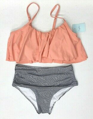 2efc7828af NEW Womens Cupshe Seaside Gale Falbala High-Waisted 2-pc. Bikini Set~
