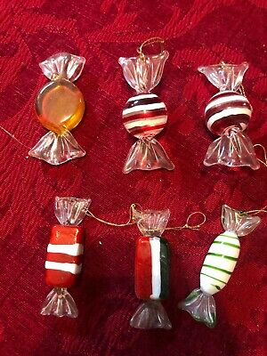 6 pcs Vintage Murano Glass Sweets Wedding Party Candy Christmas Decorations Gift