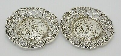 BEAUTIFUL PAIR VICTORIAN SOLID SILVER CHERUB PUTTI PIN DISHES HM 1891 HEAVY 122g