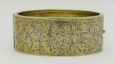Beautiful Rare Art Nouveau Antique Solid Silver Gilt Hinged Bangle - Great Gift!