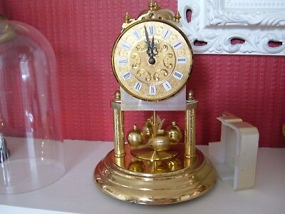 """Vintage Hermle Quartz Chiming Dome Clock - 9"""" tall - 2 Hammers on bell"""