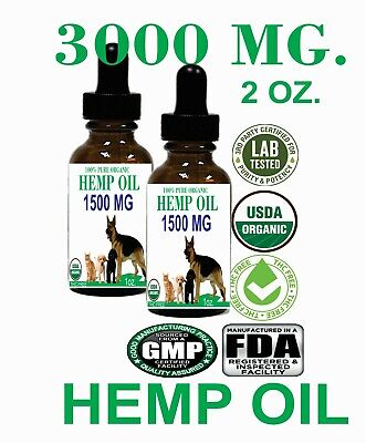Hemp Seed Oil for Dogs n Cats Pets Organic Stress Anxiety Pain Relief 3000mg 2oz