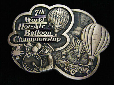 QE07164 *NOS* 1980s *7TH WORLD HOT AIR BALLOON CHAMPIONSHIP* SOLID BRASS BUCKLE