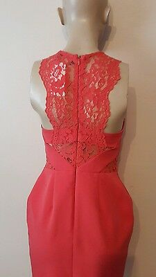Beautiful * Next * Tailored Fitted Coral Lace Detail Dress Size 8 Petite New