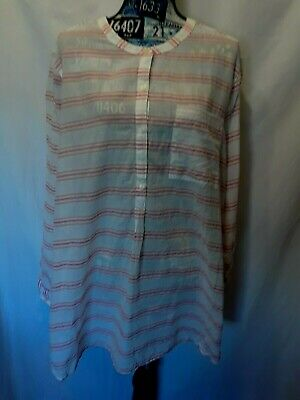 72a4f7306 Old Navy Womens Tunic Sz XXL White Melon Stripes Long Sleeve Buttons Halfway