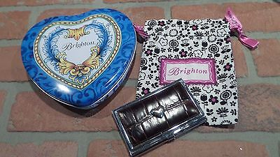 BRIGHTON LEATHER Brown LOVE BEAT HEART CARD CASE SILVER Pouch & Tin Box Vintage