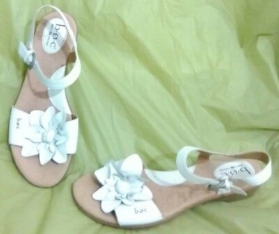 d436cb222 Boc Born Slingback Sandals Shoes Flower Ankle Strap Leather White Womens  Size 9