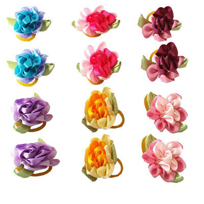12pcs Matching Rose Flower Hair Bows For Dog Pet Puppy Hair Grooming Accessories