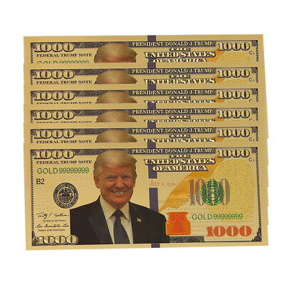 US President Donald Trump $1000 Dollar Commemorative Gold Foil Banknote NEW