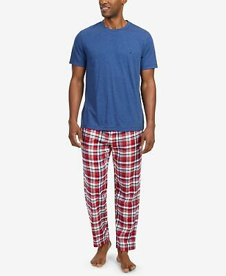$65 Nautica Mens Woven Pajama Flannel Set Pants Red Blue Solid Sleepwear Size S