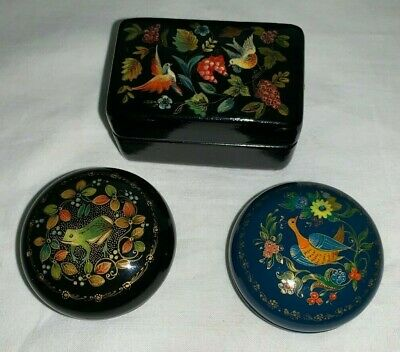 (3) Russian Black & Red & Blue Lacquered Trinket Boxes w/ Lids (Bird Frog Scenes