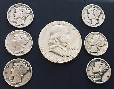 7 US Silver Coin Lot 1963 Franklin Half Dollar + Mercury Dimes - 90% Silver