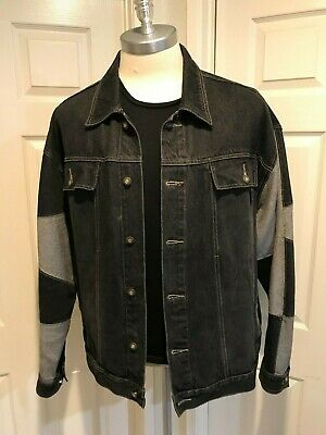 "PJ Jeans  ""Old School"" Denim Outfit Black & Gray w/Top Stitching Sz XXXL Jacket"