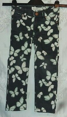 H&M Logg Butterfly Trousers Jeans Black White Age 2-3 Excellent Condition