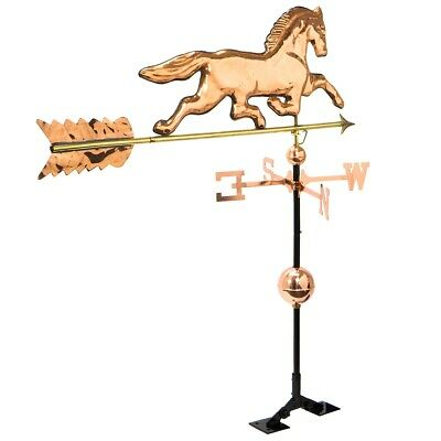 3.8FT Large Copper Plated Horse Weathervane Roof Mount polished Weather vane